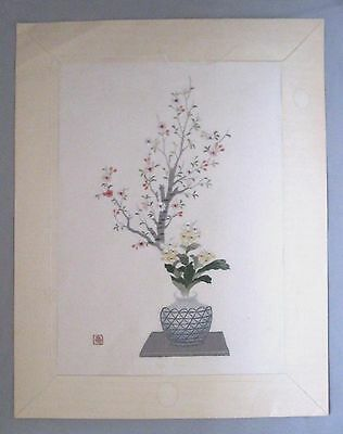 "Antique Vtg Chinese Silk Hand Embroidery~Vase/flowers~Signed~15""x12"""