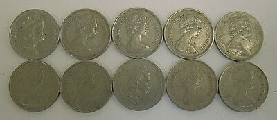 Lot of 10 Great Britain UK 5 New Pence Coins
