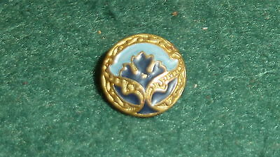 Vintage Antique Very Small 10mm Blue Enamel Button