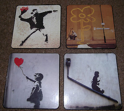 Set Of 4 Coasters With Banksy Images - Street Art - Banksy