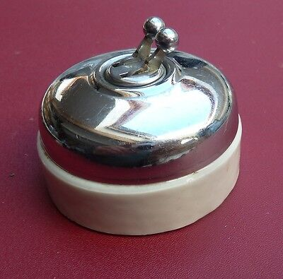 Vintage French double ceramic and chrome light switch