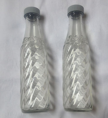 2 x glass SodaStream / Soda Stream bottles with lids.