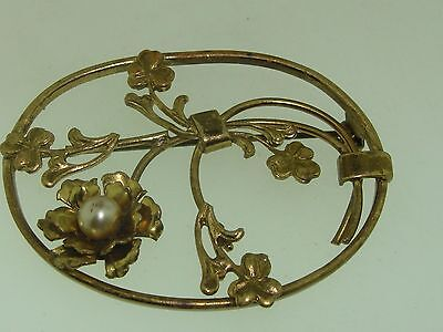Antique Celtic Gold Washed Faux Pearl Shamrock Pin/brooch!