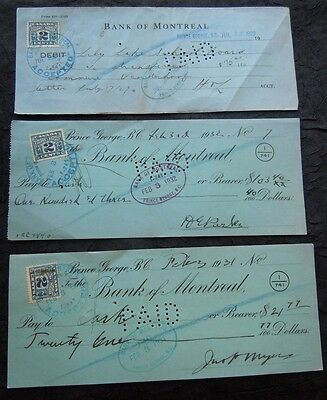 12 Cancelled Cheques / Checks - Canadian Banks - Montreal Royal + 1929-1949