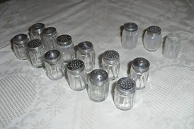 6 Pairs of Vintage Glass Salt & Pepper Pots with Sterling Silver Screw On Tops