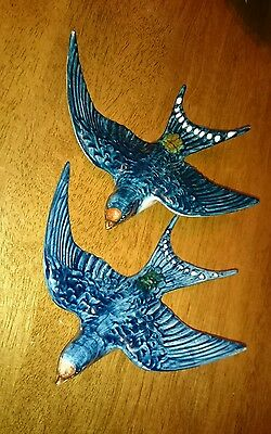 2 Vintage Beswick Pottery Flying Swallow Wall Plaques,757-1.