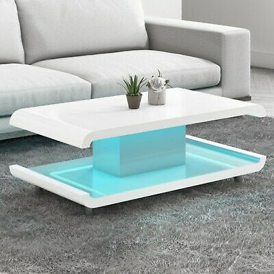 White High Gloss Coffee Table With Multi-Colour LED Lighting