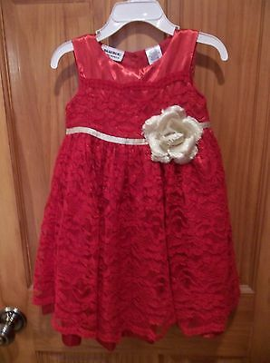 Infant Baby Girl's BLUEBER VALENTINE Holiday RED LACE Dress-size 24 mos