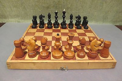 Vintage 1960s USSR СССР Soviet Wooden CHESS Set with board