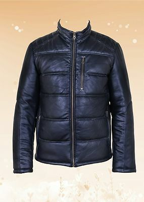 New Mens Black Genuine 100% Leather Quilted Bomber Jacket Size S-2XL