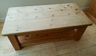 solid pine modern coffee table