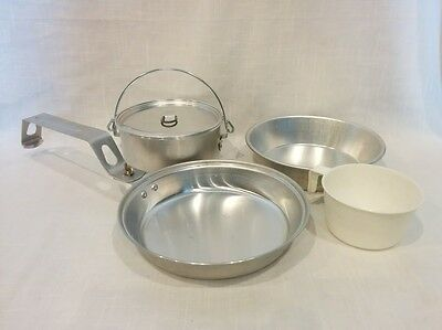Vintage camping aluminum metal mess kit pan pot lid measure cup dish cookware