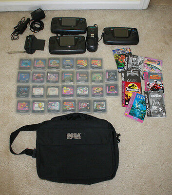 Lot of 3 Sega Game Gear Consoles System and 26 Games Manuals TV Tuner Battery