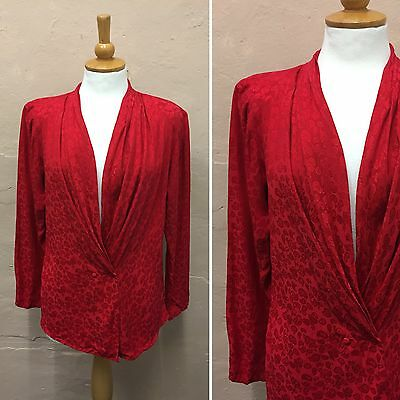 Vintage Blouse Plunging Neckline Draped Red Paisley 100% Silk (Vb239) Size 10