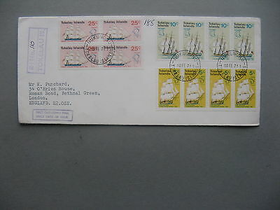 TOKELAU ISLANDS, R-cover to England 1971. block and strips of 4 sailships