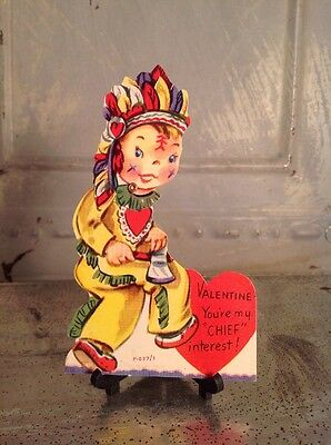Vintage Valentines Day Litho Card Mechanical Moveable INDIAN Axe Headdress Chief