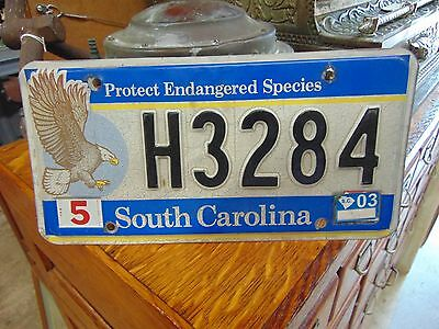 2003 SOUTH CAROLINA Protect Endangered Species License Plate H 3284 Rare