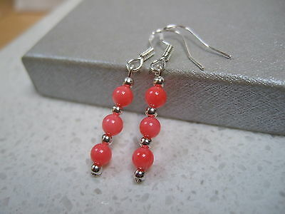 Handcrafted Pink Coral  Sterling  Silver Earrings