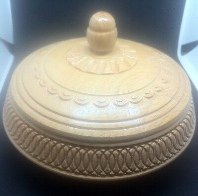 Vintage Ash Carved Wooden Round Box With Carved Detailed Lid - Vgc