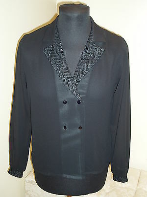LADIES BLOUSE - VINTAGE - FROM 'TOP NOTCH' - BLACK - SIZE 10 - c1990