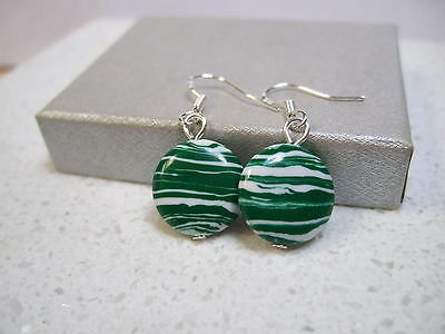 Handcrafted White/green Round Turquoise  Sterling  Silver Earrings