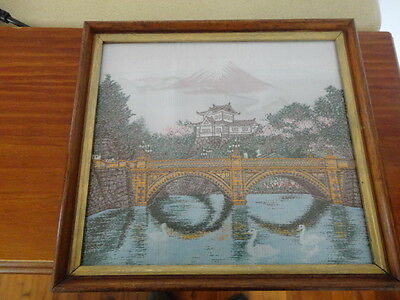 Vintage Woven Japanese Silk Tapestry Under Glass