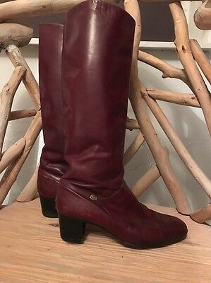 Stunning Vintage Red Leather Knee High Boots 60s 70s Size 6 7