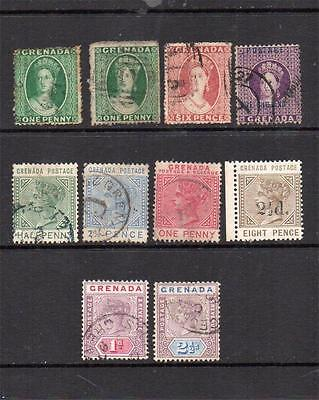 Grenada Queen Victoria Stamps Used (1 Mounted Mint)See Scan
