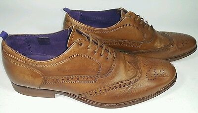 Next Mens Italia Tan Leather Pointed Brogue Shoes. size 8. RRP £79. Bargain