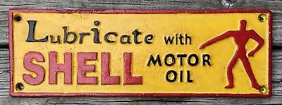 LUBRICATE WITH SHELL MOTOR OIL, London 1937, Vintage Cast Iron Sign