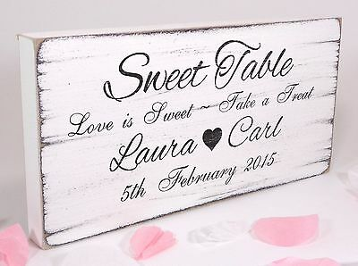 Personalised Sweet Table 02 Free Standing Vintage Wedding Sign Shabby but Chic