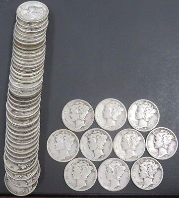 50 Mixed Date Mercury Dimes 90% Silver $5 Face Value Circulated #855