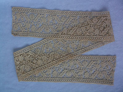 "Beautiful Antique Vintage Hand Made Lace 4"" Wide - Trim, Edging, Victorian - 42"""