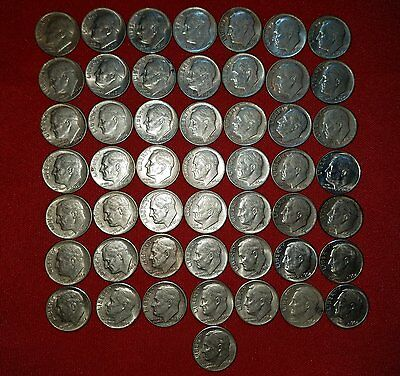 Lot of 50 - SILVER Circulated Roosevelt Dimes $5.00 Face Value dated 1964