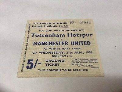 Tottenham v Manchester United Ticket.  FA 3 Replay.  31/1/1968