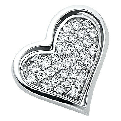 "14K Solid White Gold 0.25ct Diamond Pave Love Heart Pendant Charm 5/8"" 0.8 grams"