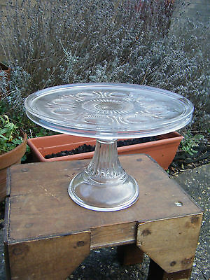 Vintage Beautiful Quality Large Pressed Glass Pedestal Cake Stand