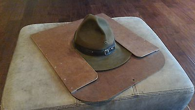 Vintage BSA Boy Scouts of America Scoutmasters Felt Hat & Wood Press Holder