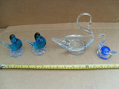 2 Different Size Glass Swans + 2 Blue Birds