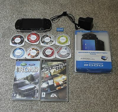 Black Psp Console 3003 Slim  With 6 Games And 3 Films/movies-Umd-Uk=Tennis=Wwf
