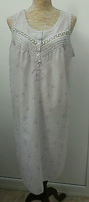 Marks & Spencer Ladies Size 12 14 White Lilac Floral Lace Night Dress M&S Wear