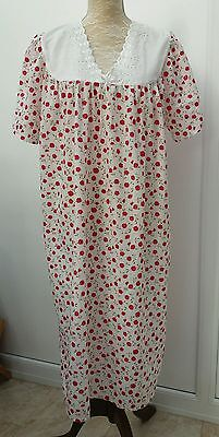 Unbranded Ladies Size 14 16 White Red Floral Lace Nightdress Night Wear Dress