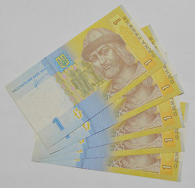 5x Consecutive UKRAINE 1 HRYVNIA FOREIGN PAPER MONEY BANKNOTE CURRENCY Lot of 5