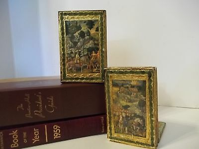 Pair Italian Wood Florentine Gold Gilt Renaissance Inspired Hollywood Bookends