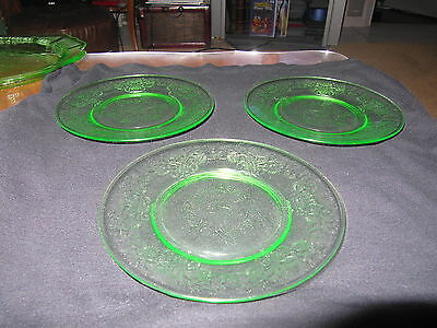 3 Green Hazel Atlas 6 Inch Florentine #2 Depression Glass Plates