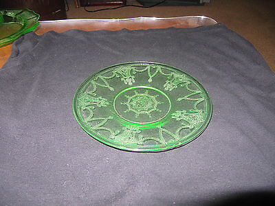 6 Inch Green Anchor Hocking Cameo/Ballerina Depression Glass Plate