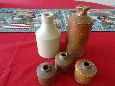 Two Vintage Stoneware Ink Bottles and Three clay inkwells