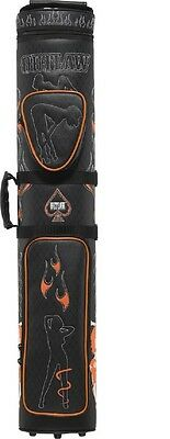 Outlaw 3x5 Hard Pool Cue Case Stitched Ladies & Flames OLB35D FREE Shipping
