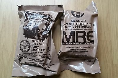 2x MRE US Army Rations exp 10/2020 survival camping rat packs emergency