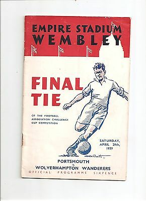 Wembley FA CUP FINAL PROGRAMME 1939: Portsmouth v Wolverhampton Wanderers
